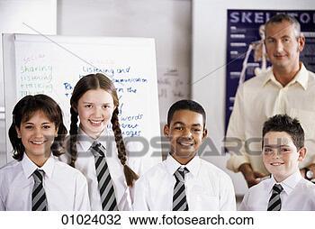 学校, 小学生, 带, a, 教师