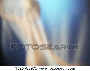 Rear View Of A Naked Woman Standing Behind Curtain Large