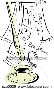 Stock Illustration - writing pen and  ink well. fotosearch  - search clipart,  illustration posters,  drawings and vector  eps graphics images