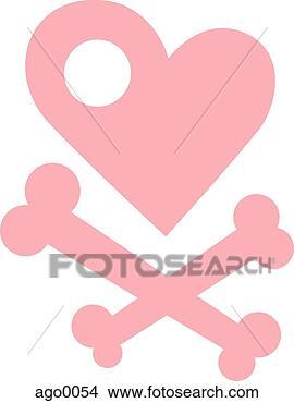 Tegning ei illustrasjon av ei hjerte og kors bein fotosearch