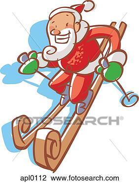 剪贴画 - 圣诞老人, 滑雪术downhill