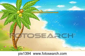 of Coconut tree at the beach pix1394 - Search Clip Art Illustrations