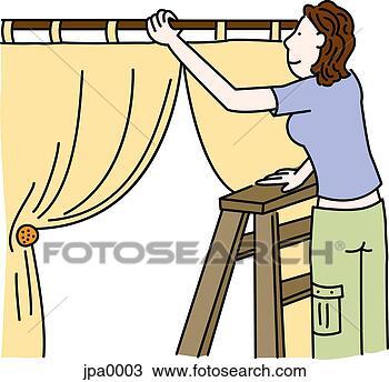 Dessin - femme, échelle, installation, rideaux. fotosearch - recherchez des cliparts, des illustrations, des dessins et des images vectorisées au format eps