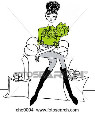 Stock Illustration - a young woman  sitting on a giant  gift box with  shopping bags.  fotosearch - search  clipart, illustration  posters, drawings  and vector eps  graphics images
