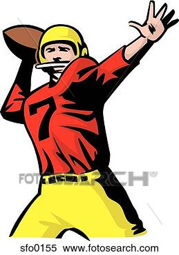 how to draw a football player throwing a football
