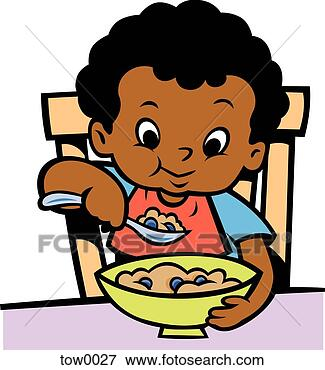 Stock Illustration of little boy eating cereal tow0027 - Search ...