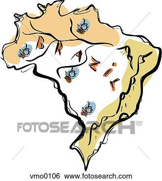 中区域地图 卡通