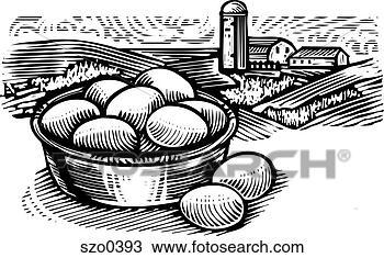 Disegno fattoria fresca uova bianco e nero szo0393 for Stampe di fattoria gratis