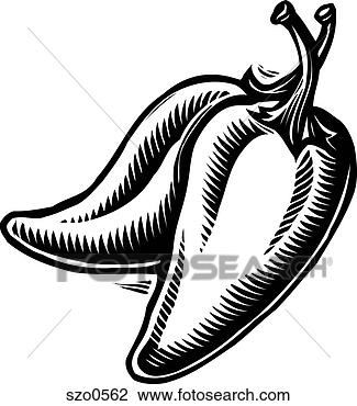 Clip Art of Two jalapeno peppers in black and white szo0562 ...