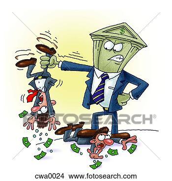 Stock Illustration - bank, tyrann,  schwierig, bekommen,  alles, geld, andere,  leute. fotosearch  - suche clipart  illustration zeichnungen