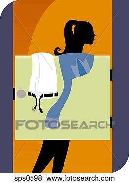 Stock illustration a woman in a changing room fotosearch search