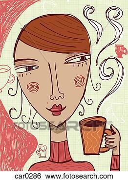 Banque d'Illustrations - femme, tenue, tasse, boisson. fotosearch - recherchez des cliparts, des illustrations, des dessins et des images vectorisées au format eps