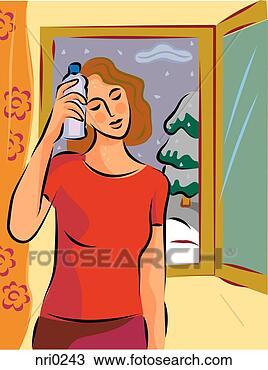 手绘图 - a, 热, 同时,, 汗流浃背, 妇女握住, a, 冷, 瓶子, 对于, 她图片