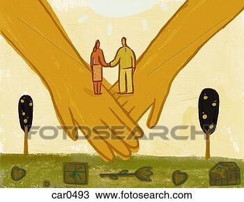 Tekening - paar, vasthouden,  handen, staand,  twee, groot, verbonden,  handen. fotosearch  - zoek clipart,  illustratie posters,  tekeningen en  vector eps grafische  beelden