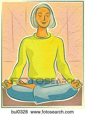 Banque d'Illustrations - âgé, femme, yoga, méditation, lotus, position. fotosearch - recherchez des cliparts, des illustrations, des dessins et des images vectorisées au format eps