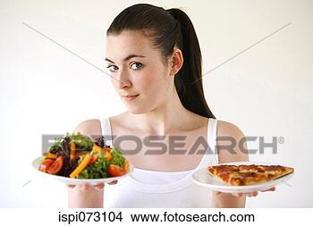 Banco de Imagem - mulher, segurando,  pizza, salada.  fotosearch - busca  de fotos, imagens  e clipart
