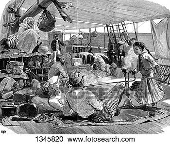 Stock Photography - third class on  board the 'kilwa',   brindisi to burma,   1886 artist:.  fotosearch - search  stock photos,  pictures, images,  and photo clipart