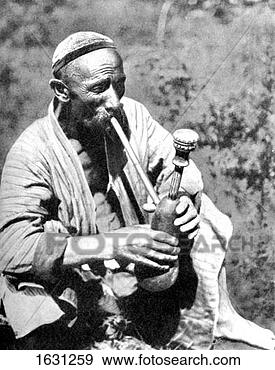 Stock Photograph - uzbek man smoking  calian, samarkand,  1936. fotosearch  - search stock  photos, pictures,  images, and photo  clipart