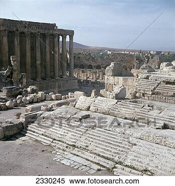 Stock Image of The temple precinct of Baalbek, Lebanon 2330245 ...