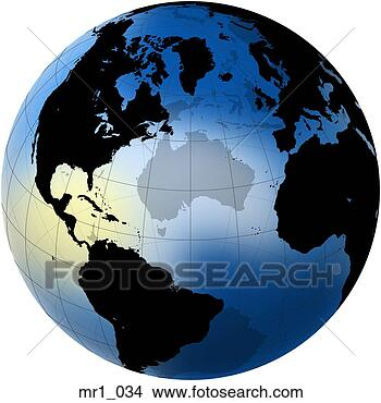 Stock Photo - globes, map, north atlantic, relief, terrain. Fotosearch