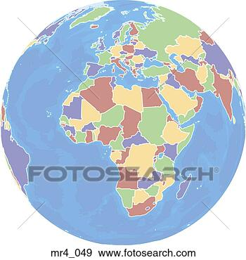 Stock Photograph - europe, middle east, map, globe, africa. Fotosearch