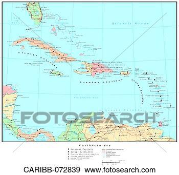 地图, .的, 加勒比海