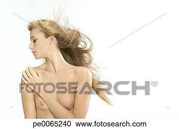 Stock Graphy Nude Woman With Wind Blown Blonde Hair Fotosearch