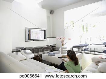 Stock fotografie bakvis kijkende televisie in woonkamer pe0066641 zoek stockfoto 39 s - Kleur gemengde kamer ...