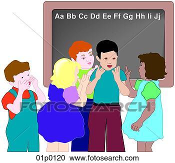 剪贴画 - 教室孩子