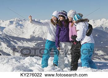 全部种类的创意图片库 - 四, 青少年, 女孩, 滑雪