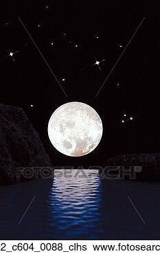 Banco de Imagem - brilhar,  exterior,   água,  levantar,   cheio,  lua,   ao ar livre.  fotosearch - busca  de fotos, imagens  e clipart