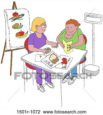 Two woman sitting, one doing blood sugar test, illustration View Large ...