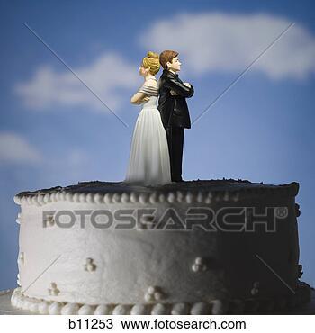 Banco de Imagem - casório, bolo,  visual, metáfora,  estatueta, bolo,  toppers. fotosearch  - busca de fotos,  imagens e clipart