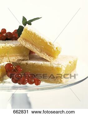 Stock Photography of Lemon Squares on Plater with Powder Sugar and ...