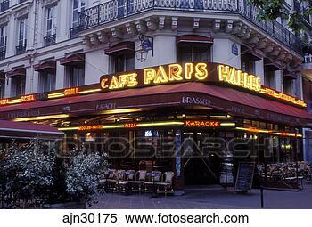 stock image of outdoor caf paris ile de france france europe caf paris halles along. Black Bedroom Furniture Sets. Home Design Ideas
