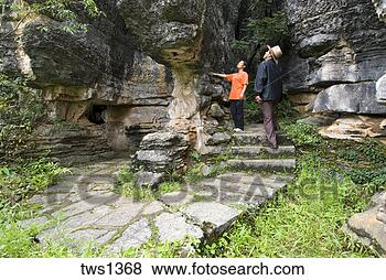 过, 岩溶, 石灰石, 形成, 黑色, 石头, 森林, Shilin, 云南省,