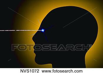 Colección de foto - silueta, cabeza,  rayo, luz, irradiar,  ojo. fotosearch  - buscar fotos  e imágenes y foto  clipart