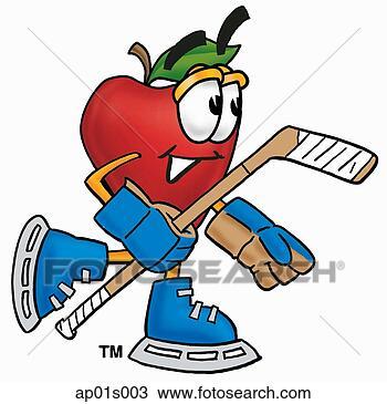 剪贴画 - 苹果, 玩曲棍球
