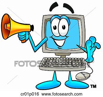 Clip Art - computador, megafone.  fotosearch - busca  de ilustrações  clipeart e desenhos