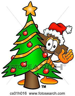 剪贴画 横越, 圣诞节, 树