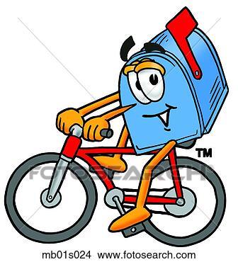 手绘漫画自行车