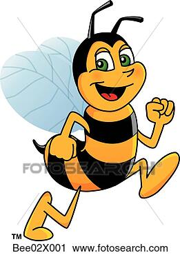 Clipart - bumble bee 2 running.  fotosearch - search  clipart, illustration  posters, drawings  and vector eps  graphics images