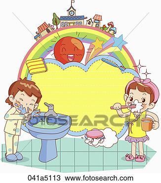 手绘图 孩子, 洗涤, 脸, 同时,, 刷子牙齿, 在中, the, 早晨