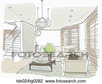 Clip Art Of The Brown Colored Living Room And Stair