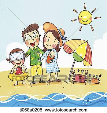 Stock Illustration of Family having vacation on the beach ...
