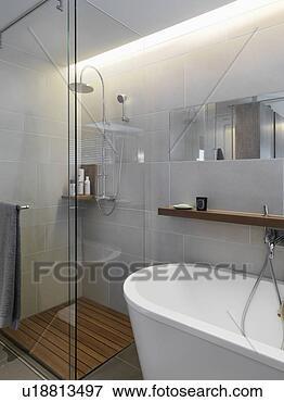 bild klein glas dusche in ecke von modernes badezimmer u18813497 suche. Black Bedroom Furniture Sets. Home Design Ideas