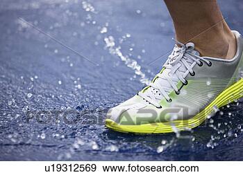 Arquivo Fotográficos - executando, sapato,  respingue, água,  pista. fotosearch  - busca de fotos,  imagens e clipart