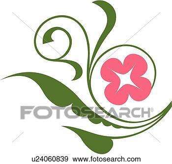 剪贴画 - 粉红花, 带,