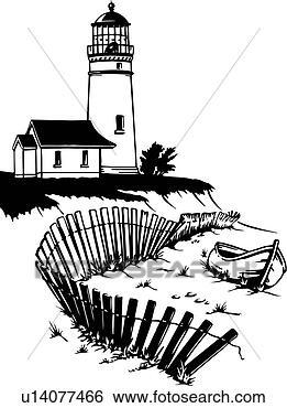 Clip Art Of Illustration Lineart Lighthouse Nautical