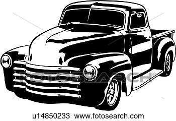 Clipart of illustration, lineart, classic, 1949, chevy ...